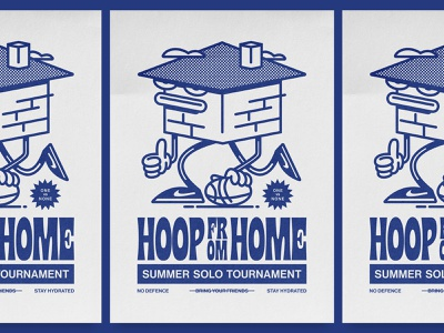 HOOP FROM HOME funny summer tournament poster display typography bricks sneakers nike design illustration vector character house remote wfh home basketball