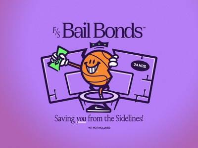F.S. BAIL BONDS typography tshirt design brand apparel bail bonds vector art vector cash nike money basketball illustrator illustration character design character