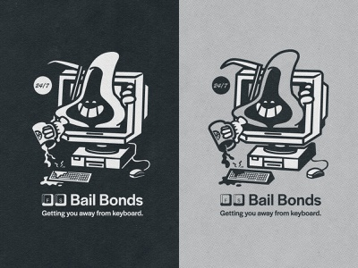 F.S. BAIL BONDS 2 grunge cartoon bail bonds fun typography apparel brand coffee spilt mug reaper illustration illustrator computer character vectorart vector