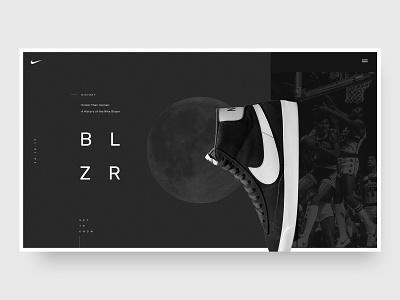 Blazer design typography iceman moon black minimal hero basketball blazer sneaker trainer shoe ui web design web nike