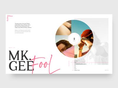 Now Playing - Mk.gee music hero design branding brand ui typography minimal concept web