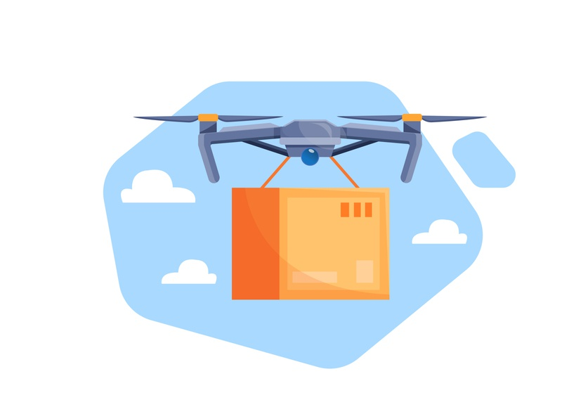 drone delivery service fast delivery concept drone delivery drone serving drones door to door box delivery drone logo drone delivery vector illustration flat