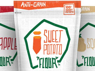 Anti-Grain Packaging packaging handtype grunge illustration sweet potato squash apple pouch badge vegetable food