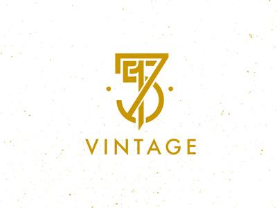 715 Vintage Logo logo branding identity logo mark 715 vintage monogram texture flat gold antique minimal