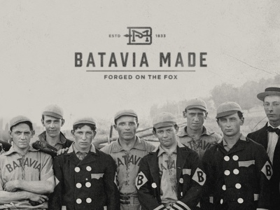 Batavia Made batavia made distressed vintage heritage 1833 fox river bm batavia monogram logo identity branding