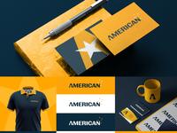 American   Brand Identity identity logotype brand identity design security yellow logo yellow graphic designer logo branding visual identity design brand design