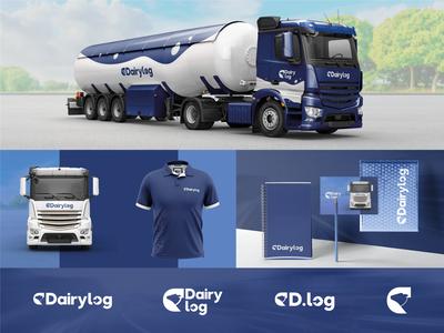 DairyLog | Brand Identity transportation design transport logo design graphic designer branding logistics logo logo design logotype truck logistic logistics company dairy milk brand design visual identity