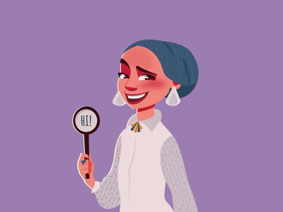 Hi! character girl vector artist character art illustration