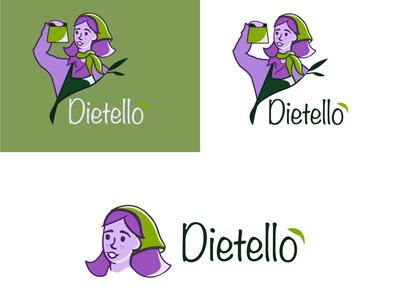 Dietello Logo green logo character art health app logotype logo sketch sketchbook sketch logo concept design food app character vector illustration logo design branding mascot design mascot logo mascotlogo logodesign logo