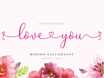 Loveyou - Romantic Font rose pink couple valentine heart love lovely