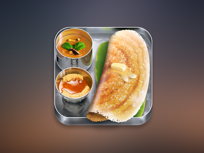 Dosa iphone icon icon ios iphone app dosa indian food identity design illustration logo ipad