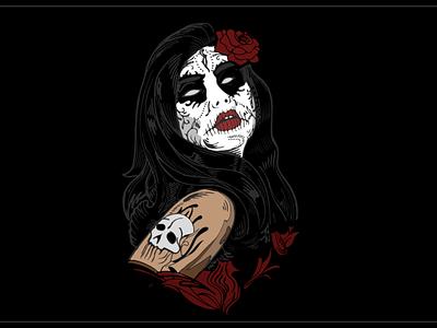 Santa Muerte - The Angle of Death drawing death female woman girl angle of death santamuerte santa muerte merch designer shirts tees freelancer amin shahrokhi t-shirt design shirt tee
