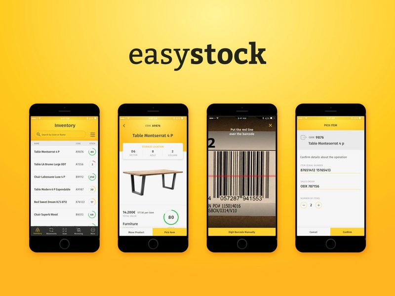 Easystock design mobile app warehouse storage ux stock ui