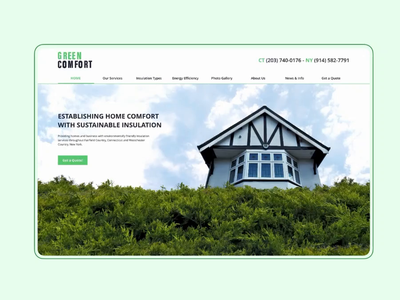 Green Comfort Landing Page UI insulation green home landing page parallax clean interface sketch design ux ui
