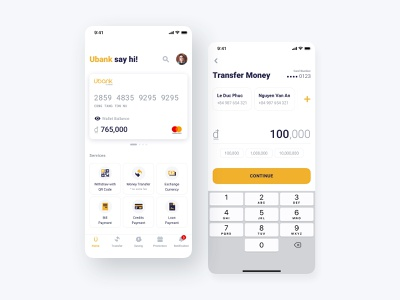 Ubank Redesign Concept white yellow bank financial solution pay payment light fintech interface smartphone sketch design mobile app ux ui