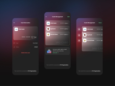 Bank Card Management dark mode fintech gradient management card bank glassmorphism figma sketch design mobile app ux ui