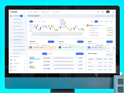 Cryptocurrency Dashboard UI cryptocurrency dashboad admin fintech clean interface sketch design ux ui