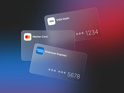 Glassmorphism Bank Cards atm card bank card gradient glassmorphism design