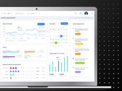 Event Manager Dashboard charts comparison chart upcoming calendar admin dashboad interface design ux ui