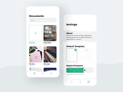 Note App UI Design Concept papercut note paper modern clean smartphone interface mobile design app ux ui