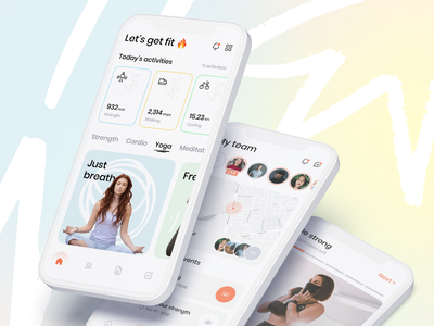 Fitness Mobile Application health healthcare fitness modern clean smartphone interface mobile design app ux ui