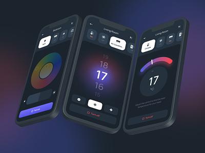 Hi - Smart Home UI Kit bulb climate air conditioner smart home figma interface mobile design app ux ui