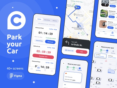 Park your Car Mobile UI Kit navigation location wizard step onboarding car park kit interface mobile design app ux ui