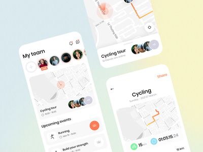 Cycling Mobile UI navigation map sport cycling health fitness interface mobile design app ux ui
