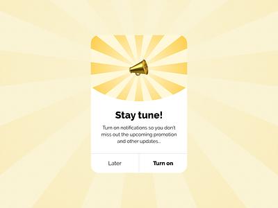 Turn On Notification Popup UI yellow notifications turn on alrert module light box pop up interface design ui