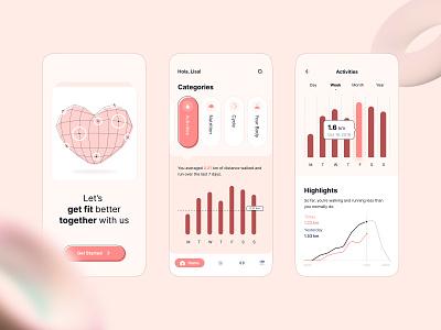 Sweet Health Mobile UI heart pink sweet chart health mobile interface app design ux ui