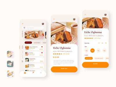 Uche Bakery Booking Mobile UI clean light cream cakes booking food bakery kit ios app interface layout mobile ux ui