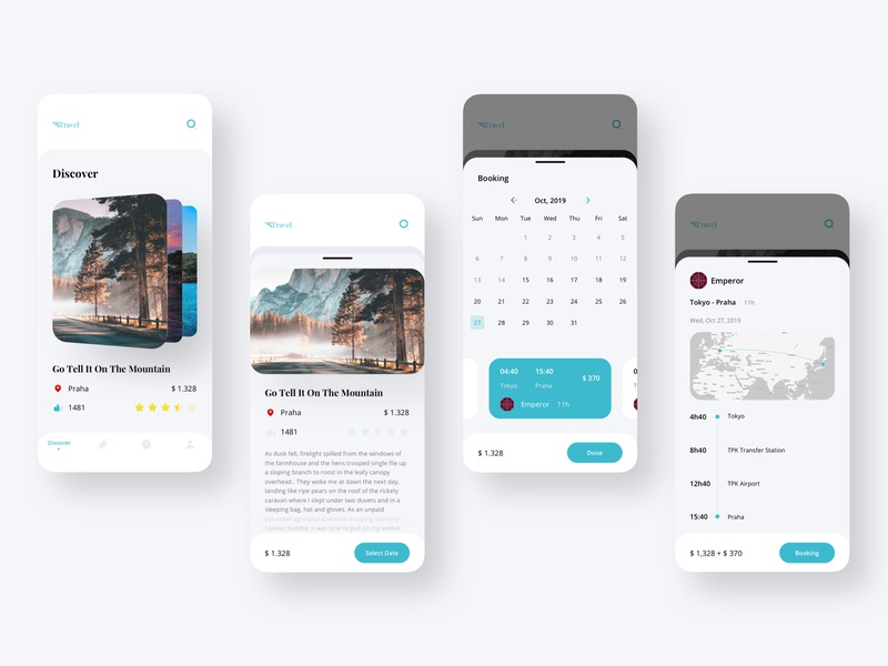 Travel Booking Tour Mobile UI time kit payment ticket search interface trip calendar discover tour booking travel mobile ux ui