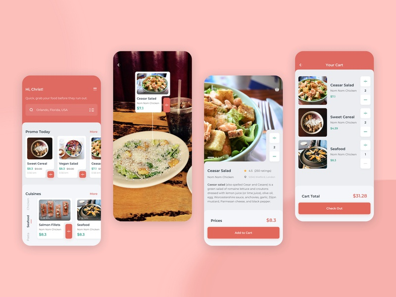 Order Food with AR Mobile UI augmented reality light book order cuisines food kit sketch modern clean mobile app ux ui