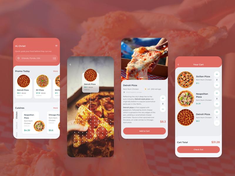 Order Food Mobile UI light book order pizza food kit sketch modern clean mobile app ux ui