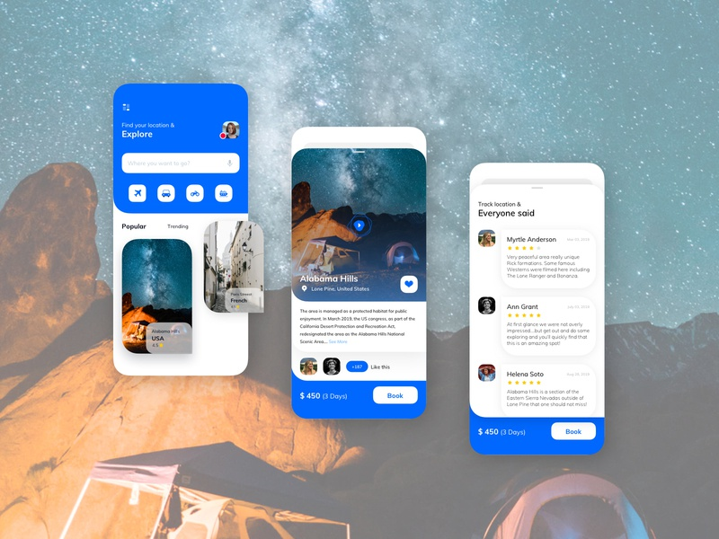 Travel Mobile UI Kit destinations tourist vacation trip travel kit ios app interface layout mobile ux ui booking