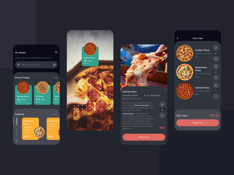 Order Food Dark Mode Mobile UI dark book order pizza food kit sketch modern clean mobile app ux ui