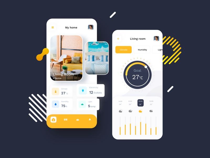 Smart Home Lifestyle Mobile UI kit sketch dashboard climate temperature time lifestyle room devices smart smarthome mobile app ux ui