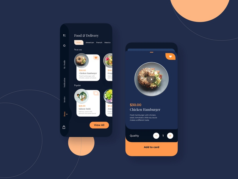 Food and Delivery Darkmode Mobile UI scrypt sketch online daily american asian fastfood delivery food mobile app ux ui
