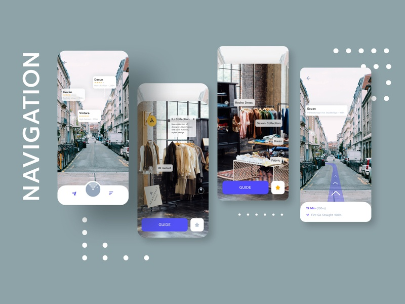 Shopping Clothes with Navigation Mobile UI ar kit sketch guide collection shopping shop price clothes view application navigation mobile app ux ui