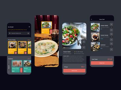 Order Food Dark Mode Mobile UI