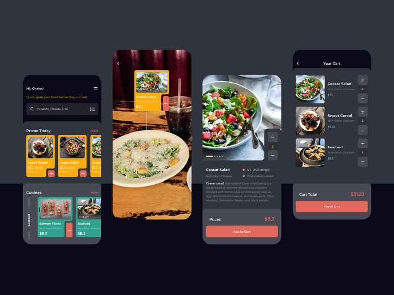 Order Food Dark Mode Mobile UI light book order cuisines food kit sketch modern clean mobile app ux ui
