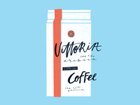 Vittoria Coffee hand lettering and illustration