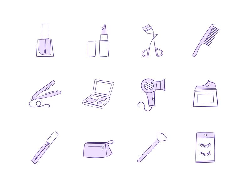 Makeup & Beauty Vector Icon Collection cosmetics makeup artist beauty icon collection icon set adobe illustrator illustrator iconography icon design vector icons vector illustration