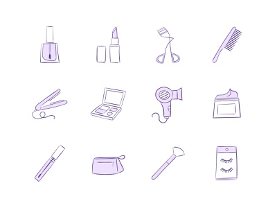 Makeup & Beauty Vector Icon Collection cosmetics makeup artist beauty icon collection icon set adobe illustrator illustrator iconography icon design vector icons vector illustration