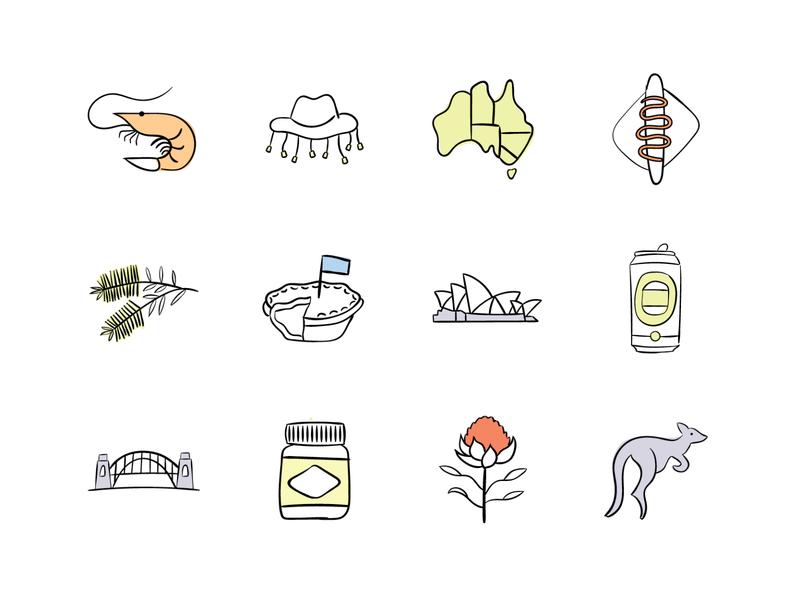 Australian themed Icons illustrator australian icons australia icon design adobe illustrator illustration