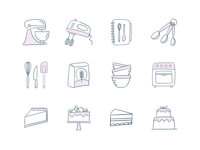Baking Tools & Ingredients Icon Collection cakes illustrator vector icons icon illustration icon set bakery cooking baking
