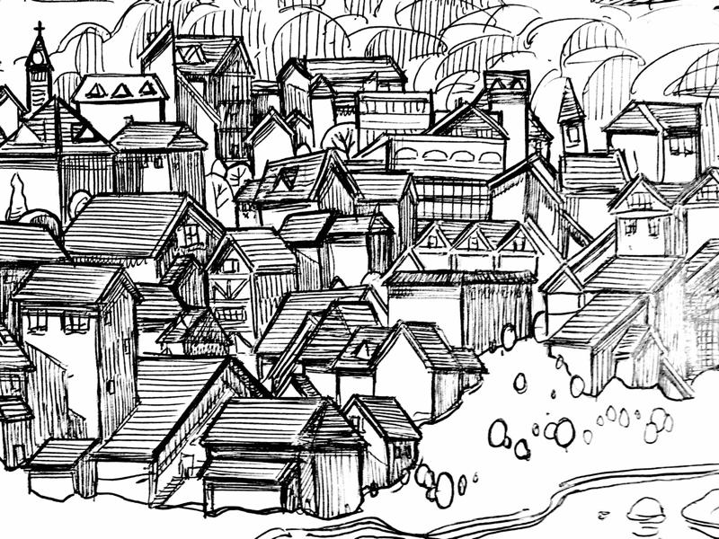 Mountain river city concept woo drawing sketchbook crumbs roguemeat studio milwaukee artist narrative