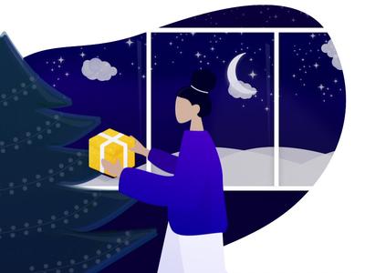 Holiday Mood card xmas night sky invisionstudio humaans after affects sketch stars illuminate lights blue holidays holiday card chrismas illustration animation