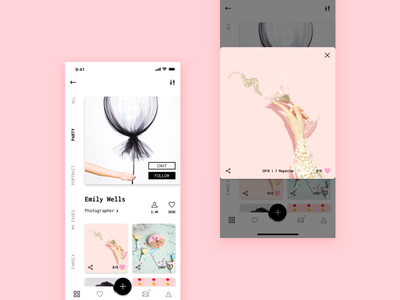Profile Concept dailyui006 dailyui iphonex mobile pink black and white minimal portfolio social profile ui  ux design social profile sketch