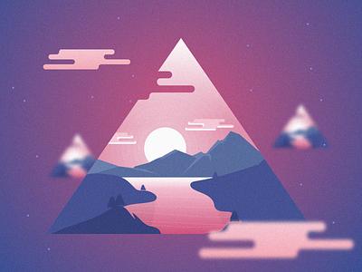 Shattered Memory fade triangle cubic spcae scene art moutain sunny autom design illustration